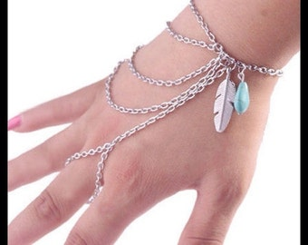 60% OFF Silver Feather Hand Chain