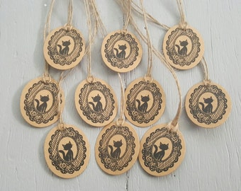 10 tiny cat kraft swing tags with twine