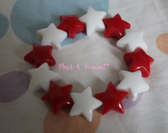 Bracelet bracelet big red and White Star