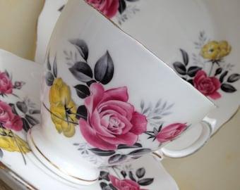 Royal Vale Bone China Trio - Tea cup, Saucer, Cake Plate