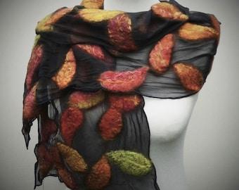 Silk chiffon and felt leaf scarf