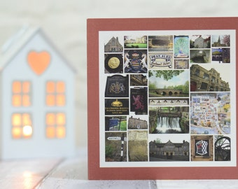 Bakewell Greetings Card, Bakewell Tart, Bakewell Photo Collage, Peak District Art, Bakewell Derbyshire, Bakewell Photograhy, Bakewell Images