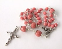 Anglican Prayer Beads - Unbreakable Wire Wrapped Anglican Rosary - Protestant Prayer Beads - Soft Pink Glass Prayer Beads - Christian Gift