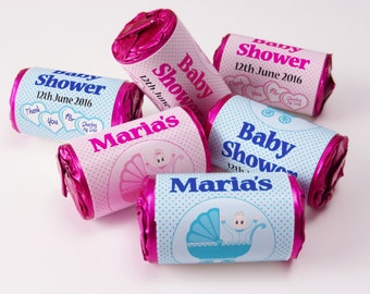 Personalised Love Heart Sweets, Baby Shower, Favours ( Select from 10 to 100 Rolls) - Spotty Pink or Blue