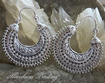 Tribal Gypsy Earrings, Sterling Silver Earrings, Ethnic Earrings, Gypsy Hoop Earrings, Indian Silver Earrings, Belly Dance Jewelry