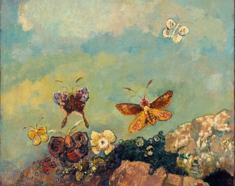 Butterflies by Odilon Redon Home Decor Wall Decor Giclee Art Print Poster A4 A3 A2 Large FLAT RATE SHIPPING