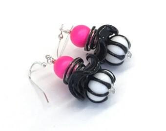 Neon Pink and Black, lampwork earrings, beaded earrings, neon jewelry, neon pink earrings, glass earrings, funky earrings, black and white