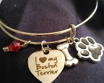 Boston Terrier bangle with charms