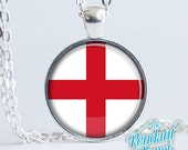 St George's Cross Pendant, Flag of England jewelry, English flag necklace, national flags, red cross, gift for anglophiles, gift for her