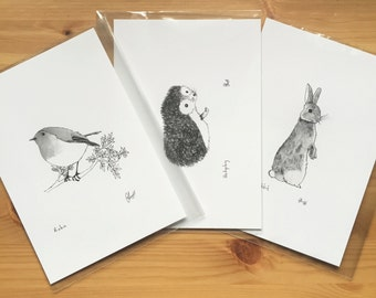 Set of 3 Little Animal A5 Prints