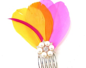 Hot Pink Orange Yellow Silver Feather Hair Comb Fascinator Bridal 1920s Vtg 121