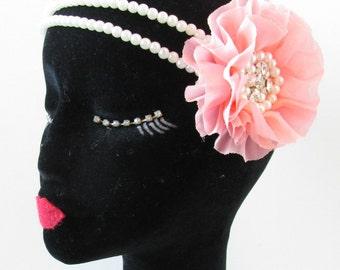 Light Pink White Pearl Flower Headdress Flapper Vintage 1920s Headband 1930s S77