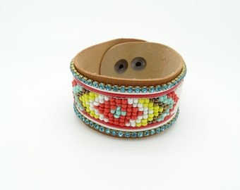 Aztec seed bead bracelet