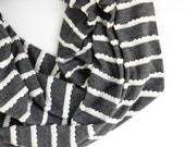 BESTSELLER: Women's Gray Fall Infinity Scarf- Textured Scalloped Thin Ruffle - Everyday Pitter Patter