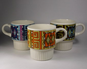 Groovy Mid Century Tribal Art Ceramic Stacking Mugs - Made in USA (3)