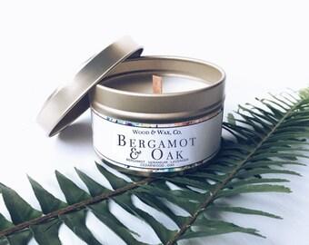BERGAMOT & OAK Soy Candle   Candle Tin   Travel Candle