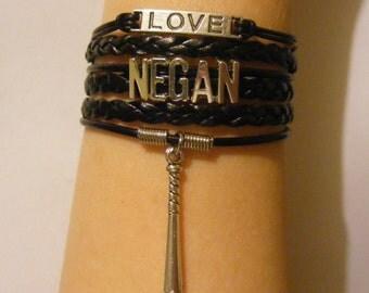 Negan bracelet, Negan jewelry, Walking Dead bracelet, Walking Dead jewelry, fashion bracelet, fashion jewelry, leather Negan bracelet