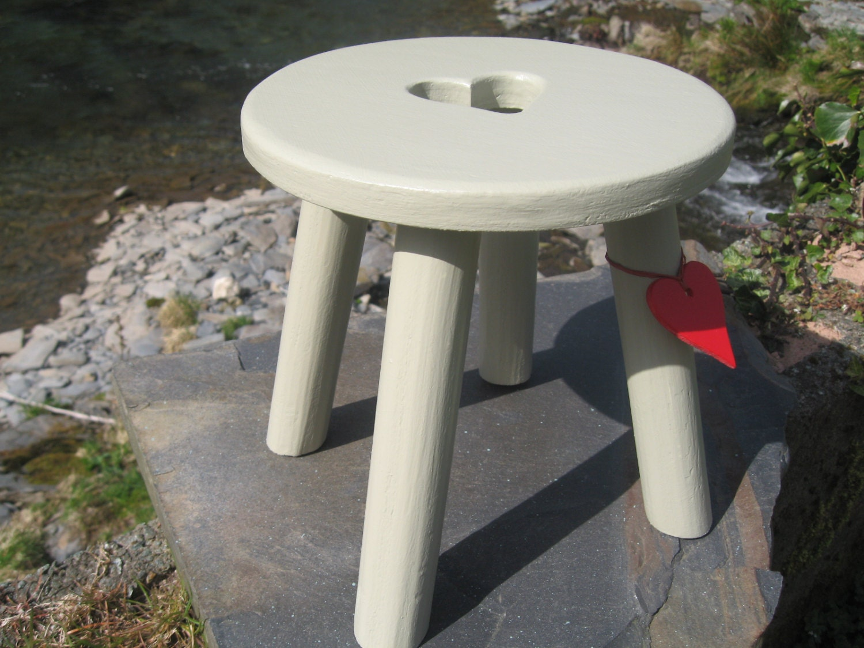 & Light green/grey handmade wooden heart milking stool islam-shia.org