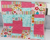 Baby Quilt, Handmade  Baby Quilt, Modern Quilt, Girl Quilt, Pink Quilt, Baby Gift, Newborn Gift, Baby Shower Gift, Holiday Baby Gift