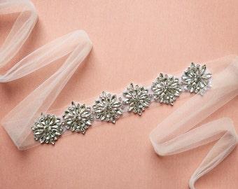 Tulle Bridal Belt | Tulle Rhinestone Bridal Sash | Rhinestone Wedding Sash | Crystal Wedding Belt Sash | THE TULLE DAHLIA