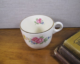 Heavy Porcelain Coffee Mug - Pink Flowers - Gold Accent