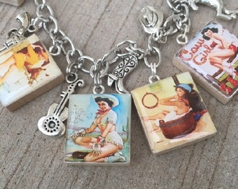 Cowgirl Pinup Charm Bracelet, Cowgirl Up Charm Bracelet, Scrabble Tile Bracelet, Pin Up Bracelet, Cowgirl Jewelry