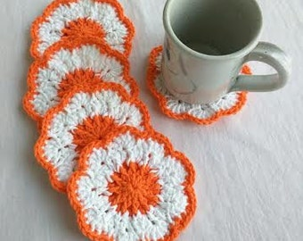 Crocheted Orange & White Coasters, Set of 5