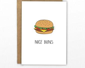 Funny Valentine's Day Card   Love Card   Anniversary Card ~ Nice Buns