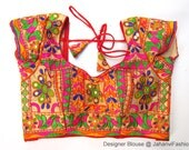Colorful embroidery saree blouse, embellished Sari blouse, embroidered blouse designs for bridal sarees, traditional blouse