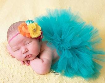 Newborn tutu set, Preemie tutu set, 0-3 Month Tutu set, Teal newborn tutu set, Blue newborn tutu set, baby shower gift, photo prop