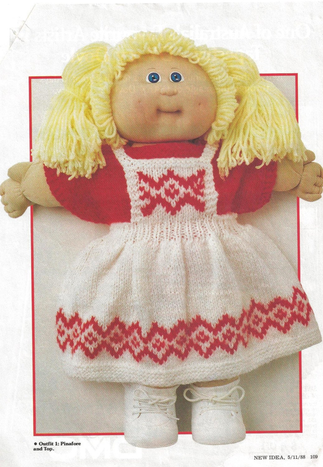 Knitting Pattern Vintage Cabbage Patch Doll Four Outfits 1988