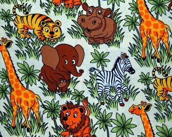 100% Cotton on Ivory Childrens Kids Nursery Block Safari Jungle Animals Lion Tiger Giraffe Elephant Zebra Hippo Fabric Material