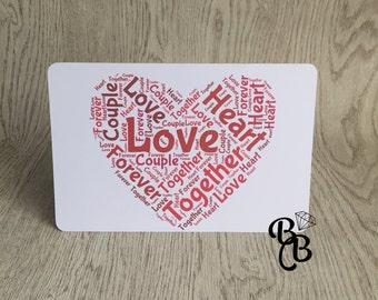 A4  Love Word Art  Print/A5 Word Art Card