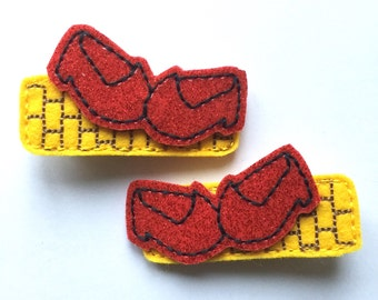 Barette clips red shoes Dorothy yellow brick road Oz hair clips
