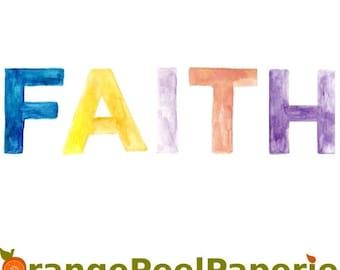 Hot Summer Sale Watercolor ClipArt, Faith Clip Art, Word Clip Art, Watercolor Faith, Inspirational Clipart, Faith Word Art, Text Clipart, Fa