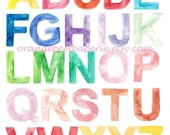 Alphabet To Print, Alphabet Printable, Alphabet Art, Nursery Print, Watercolour Printable, Watercolour Wall Art, Art print, Home School Art