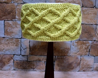 Hand Knitted Jute Lampshade Cuff in Citrus Lime