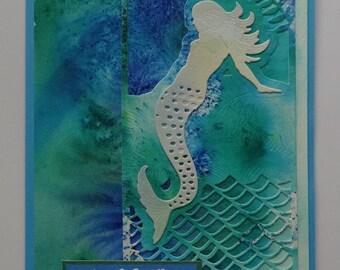 """Mermaid Hawaiian birthday card """"Hau'oli la Hanau"""" v. 2"""