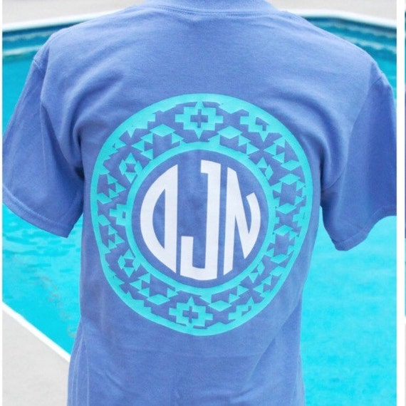 Monogrammed Aztec Circle Shirt Aztec Design Aztec Shirt