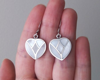Vintage Heart Dangle Earrings Sterling Silver White Shell Inlay