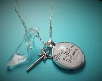 A DREAM is a  WISH ( Cinderella ) inspired 25mm glass dome necklace - gift