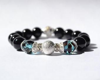 Black Agate and Aqua Glass  Beaded Bracelet. Stretch bracelet, gift for her, teacher gift, women's bracelet, elastic bracelet