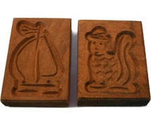 Vintage Dutch Hand Carved Wooden Cookie Molds - Sailboat - Squirrel - Wood Cookie Mold -- UNK0800