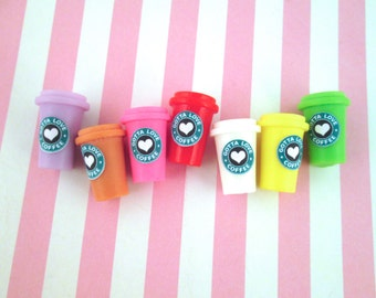 Miniature Multicolor Coffee Cup Cabochons Dollhouse Coffee Cups