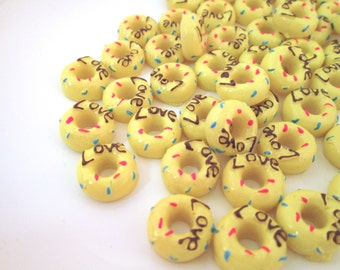 Yellow Sprinkled Love Donut Cabochons, Pick Your Amount, #058a