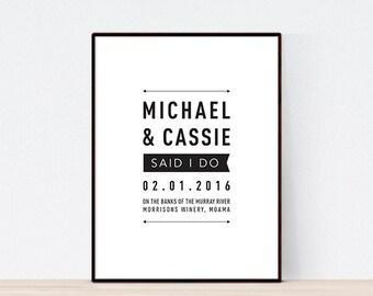 Modern Wedding Print, Personalised WeddingPrint, Wedding Gift