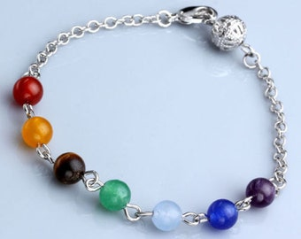 Hand Crafted Seven Chakra Bracelet natural stones