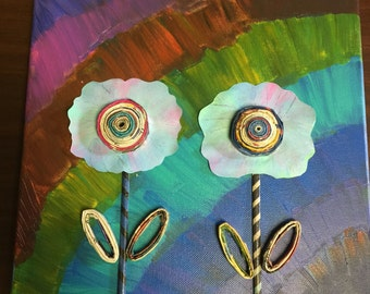 Acrylic Abstract Flower Painting 12x12