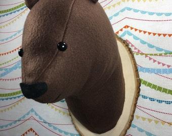 Brown bear faux taxidermy bear head grizzly bear head woodland nursery decor