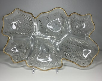 really pretty pressed glass divided platter with gold edge by Jeanette Glass